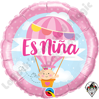 18 Inch Round Es Niña Hot Air Balloon Foil Balloon Qualatex 1ct.