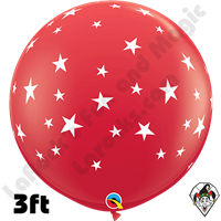Qualatex 3 Foot Round Contempo Stars-A-Round Red Balloons 2ct