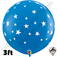 Qualatex 3 Foot Round Contempo Stars-A-Round Dark Blue Balloons 2ct