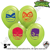 Qualatex 5 Inch Round Rise Of The TMNT Face Balloons 100ct