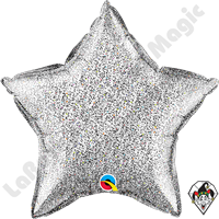 20 Inch Star Glittergraphic Silver Foil Balloon Qualatex 1ct