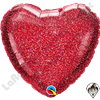 18 Inch Heart Glittergraphic Red Foil Balloon Qualatex 1ct