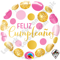 Qualatex 18 Inch Round Cumpleaños (Birthday) Pink & Gold Dots Foil Balloon 1ct.