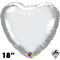 Qualatex 18 Inch Heart Chrome Silver Foil Balloon 1ct
