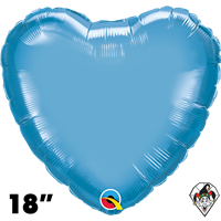 Qualatex 18 Inch Heart Chrome Blue Foil Balloon 1ct