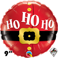 09 Inch Round Ho Ho Ho Santa's Belt Foil Balloon Qualatex 1ct
