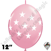 12 Inch Quick Link Big Stars Pink Balloon Qualatex 50ct
