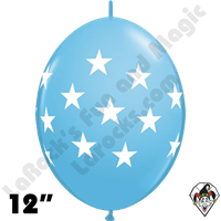 12 Inch Quick Link Big Stars Pale Blue Balloon Qualatex 50ct