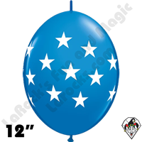 12 Inch Quick Link Big Stars Dark Blue Balloon Qualatex 50ct