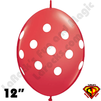 Qualatex 12 Inch Quick Link Big Polka Dots Red 50ct