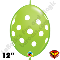 12 Inch Quick Link Big Polka Dots Lime Green Qualatex