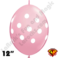 12 Inch QuickLink Big Polka Dots Pink Qualatex