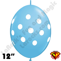 Qualatex 12 Inch Quick Link Big Polka Dots Pale Blue  50ct