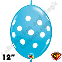 Qualatex 12 Inch Quick Link Big Polka Dots Robins Egg Blue 50ct