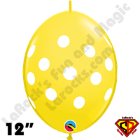 Qualatex 12 Inch Quick Link Big Polka Dots Yellow & White 50ct