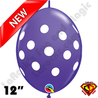 Qualatex 12 Inch Quick Link Big Polka Dots Purple Violet & White 50ct