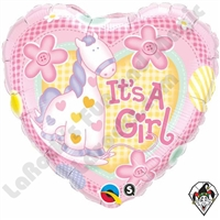 18 Inch Heart It's A Girl Pony Foil Balloon