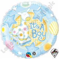 18 Inch Round It's A Boy Foil Balloon