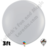 Qualatex 3 Foot Round Fashion Gray Balloons 2ct