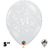 Qualatex 5 Inch Round Diamond Clear Butterflies-A_Round Balloons 100ct