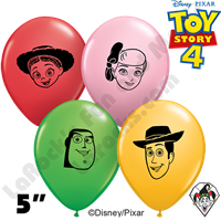 Qualatex 5 Inch Round Disney Pixar Toy Story 4 Faces Balloons 100ct
