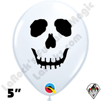 Qualatex 5 Inch Round Skull White Balloons 100ct