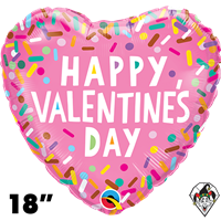 18 Inch Heart Valentine's Sprinkles Foil Balloon Qualatex 1ct