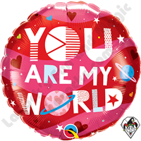 18 Inch Round You Are My World Foil Balloon Qualatex 1ct