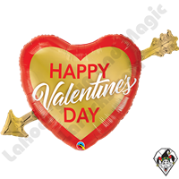 39 Inch Shape Valentine's Golden Arrow Foil Balloon Qualatex 1ct