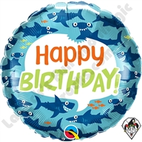 18 Inch Round Birthday Fun Sharks Foil Balloon Qualatex 1ct