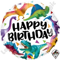 18 Inch Round Birthday Colorful Dinosaurs Foil Balloon Qualatex 1ct