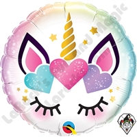 18 Inch Round Unicorn Eyelashes Foil Balloon Qualatex 1ct