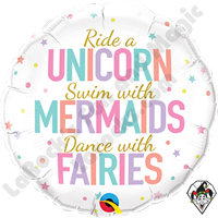 18 Inch Round Unicorn Mermaids Fairies Foil Balloon Qualatex 1ct