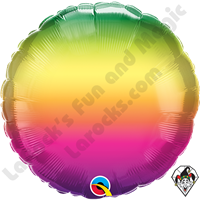 18 Inch Round Vibrant Ombre Foil Balloon Qualatex 1ct