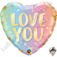 18 Inch Heart Love You Pastel Ombre & Hearts Foil Balloon Qualatex 1ct