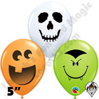 Qualatex 5 Inch Round Halloween Face Assortment Balloons 100ct
