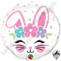 18 Inch Round Bunny Face Foil Balloon Qualatex 1ct