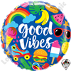 18 Inch Round Good Vibes Foil Balloon Qualatex 1ct.