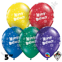 Qualatex 5 Inch Round Happy Birthday Stars and Swirls Balloons 100ct