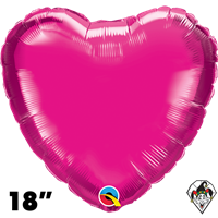 Qualatex 18 Inch Heart Magenta Foil Balloon 1ct