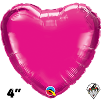 Qualatex 4 Inch Heart Magenta Foil Balloon 1ct