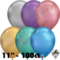 Qualatex 11 Inch Round Chrome Assortment Balloons 100ct
