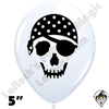 Qualatex 5 Inch Round Pirate Skull White Balloons 100ct