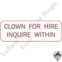 Stickers & Stuff | Pins & Buttons | Clown For Hire Inquire Within pin