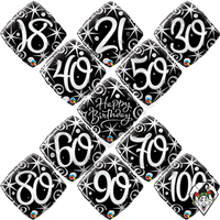 Qualatex 18 Inch Diamond Birthday Elegant Sparkles & Swirls Foil Balloon