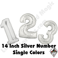 Betallatex 14 Inch Silver Numbers Foil Megaloon Balloon 1ct