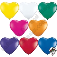 Qualatex 6 Inch Heart Jewel Single Color Balloons 100ct