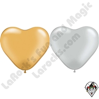 Qualatex 6 Inch Heart Metallic Single Color Balloons 100ct