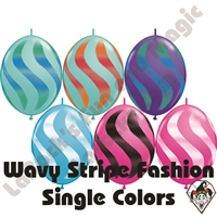 Qualatex 12 Inch Quick Link Wavy Stripe Fashion Single Color Sprays 50ct