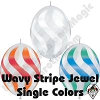Qualatex 12 Inch Quick Link Wavy Stripe Jewel Single Color Sprays 50ct